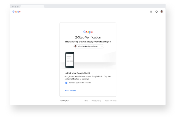 2-Step Verification screen inside a browser in Chrome