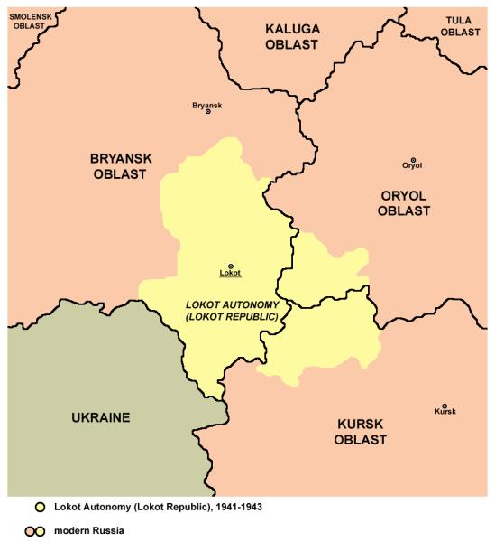 По своим размерам Локотский округ превышал территорию Бельгии. В округе проживало 581 тысяча человек