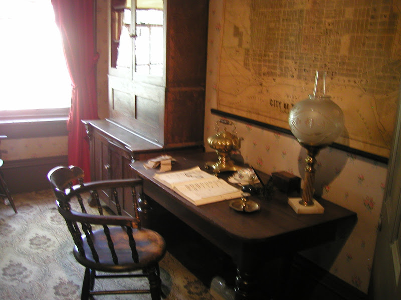 Photo: Desk and Toronto Map - Mackenzie House - Home of William Lyon Mackenzie, former Toronto mayor, one of the leaders of the 1837 rebellion and the push for Reform against the Family Compact. And publisher of the Colonial Advocate, the Reform newspaper.