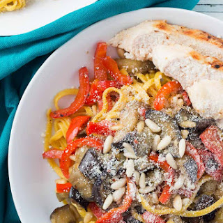 Saffron Pasta with Chicken, Eggplant, and Bell Pepper Recipe