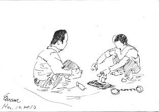 Photo: 釘鐐2010.11.10鋼筆 卯釘搥擊腳鐐加身,兩人三腳直至下一個監獄…