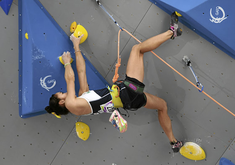 Jain Kim of South Korea competes in the lead climbing singles women's qualifier for the World Games in Wroclaw, Poland.