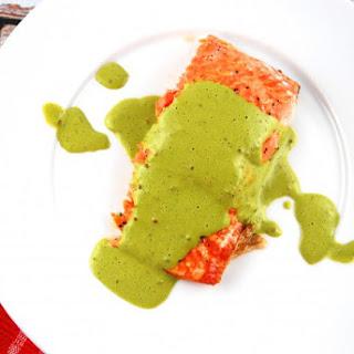 Roasted Salmon with Basil Mint Sauce