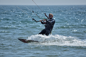 Photo: Kite surfer off Beadnell beach