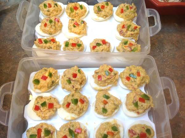Smoked Deviled Eggs W/deviled Ham & Roasted Red Peppers