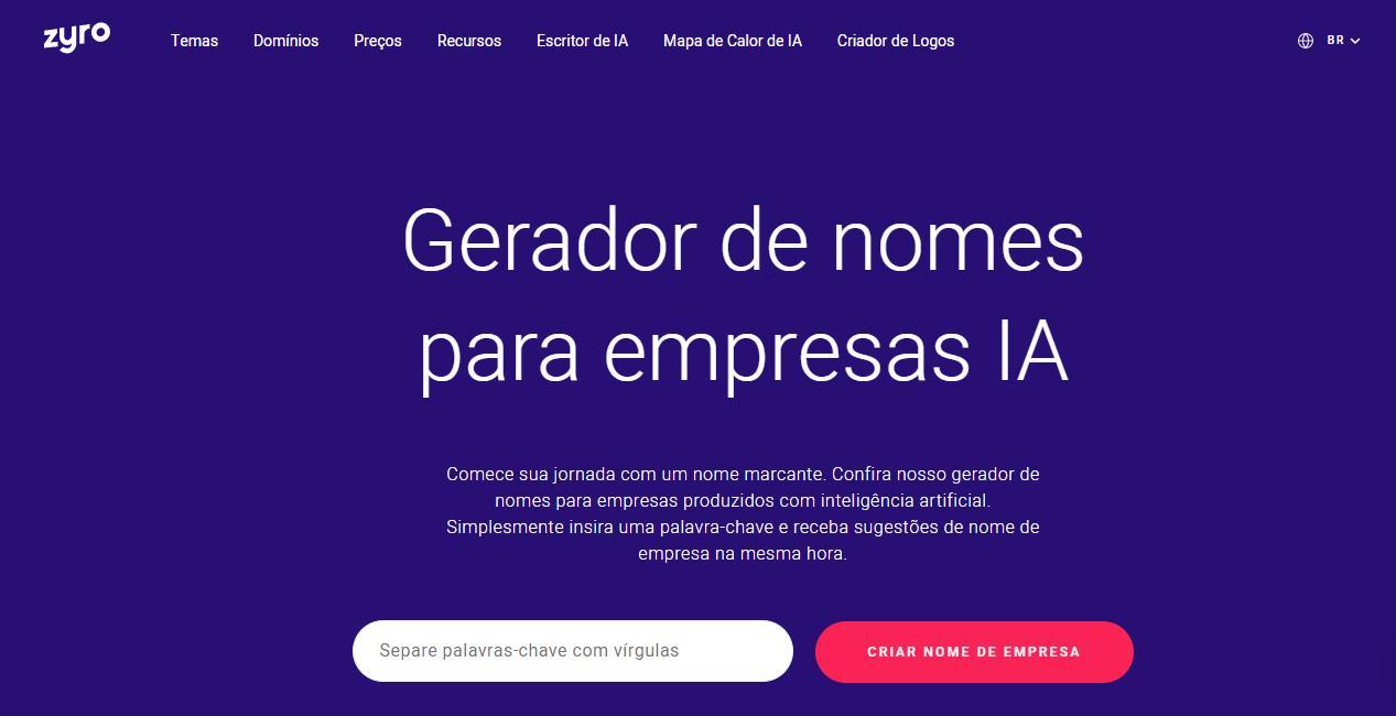 página inicial Zyro para criar logomarca grátis