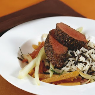Gourmet Game Steak with Veggies and Rice
