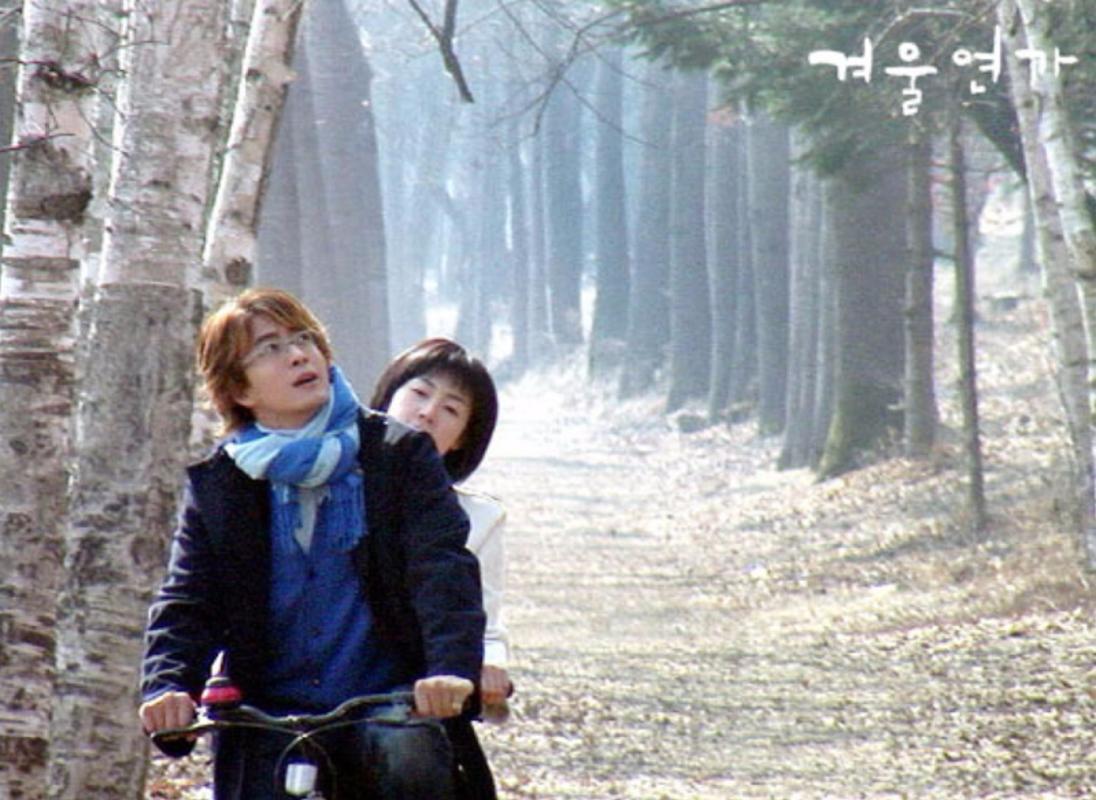Salah satu adegan yang terkenal di drama Winter Sonata saat melewati jalan di antara pohon-pohon