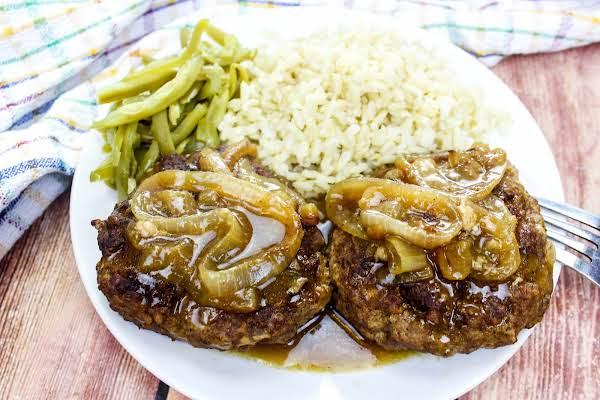 Home Style Salisbury Steak With Onion Gravy.