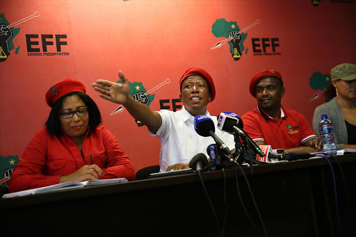 EFF leader Julius Malema addresses the media on the 3rd Plenum of the EFF at a media briefing at the EFF's headquarters on 23 January 2016.