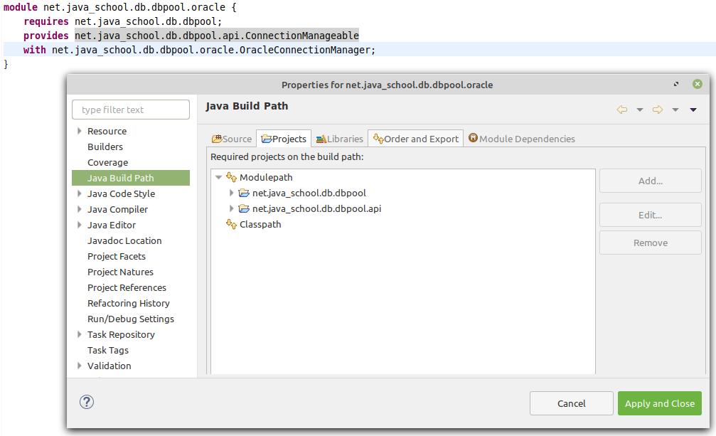 net.java_school.db.dbpool.oracle module Java Build Path