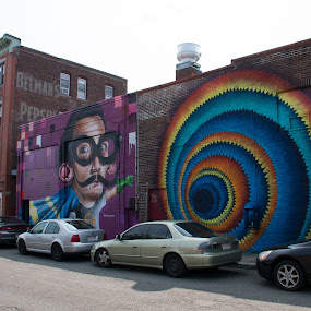 by Paul Gibson - City,  Street & Park  Street Scenes ( purple, graffiti, street, advertisement, street photography )