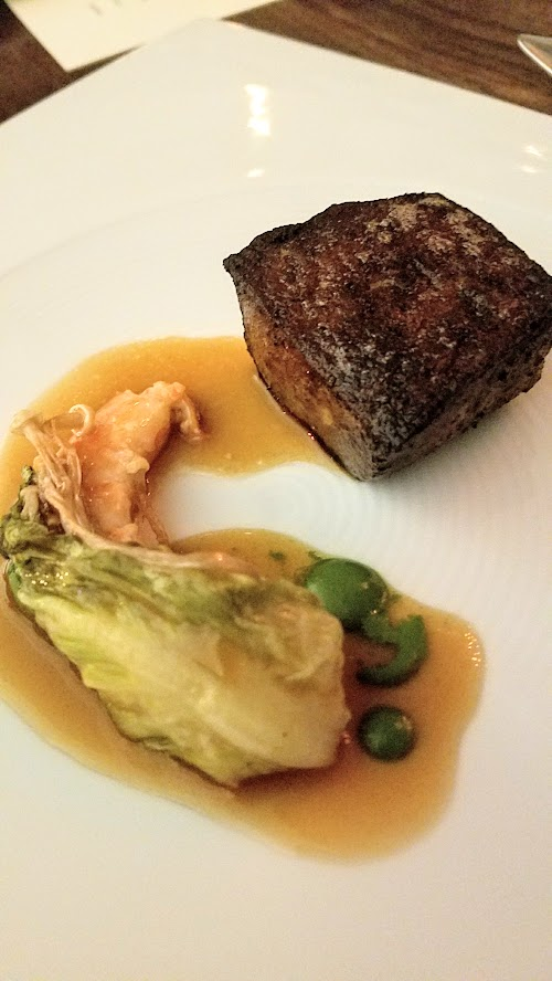 Roe PDX - Walu course, the butterfish was being served in a play of surf and turf, with the butterfish standing in for the steak and a fish sauced turf providing Asian flavors for a play on East and West too