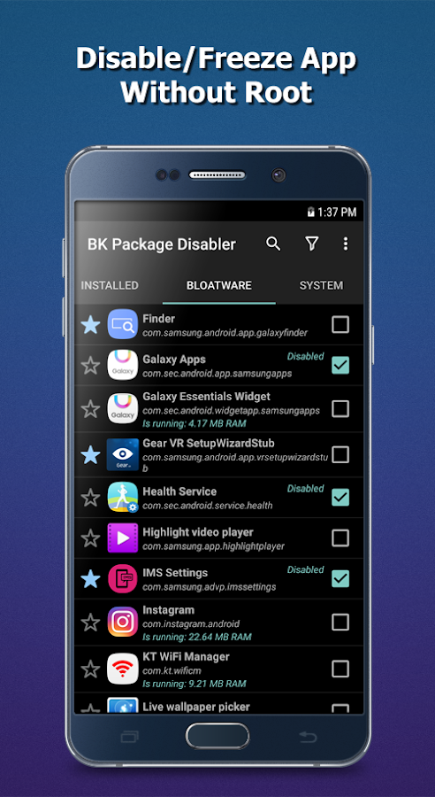 BK Package Disabler (Samsung)- screenshot