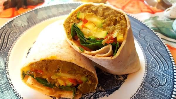 Lentil And Roast Veggie Wrap