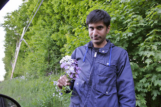 Photo: Sometimes I like for Feraz to stop the car and pick flowers for me.