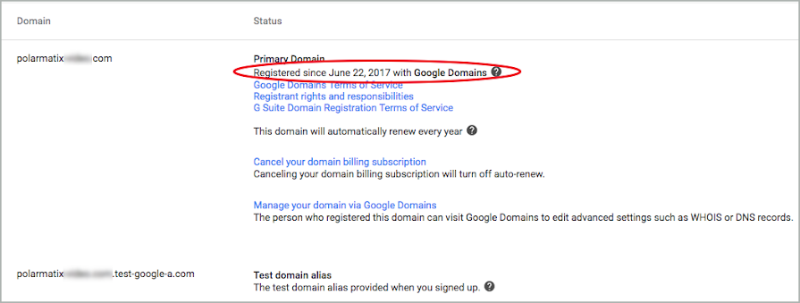 A red circle highlights the registry line for the domain.