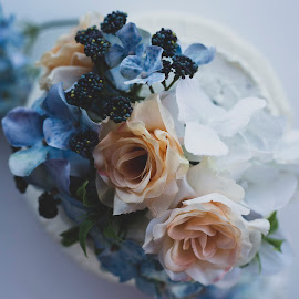 Cake From Above by Durden Godfrey - Food & Drink Candy & Dessert ( love, floral, pretty, flowers, wedding cake, cake, wedding, icing )