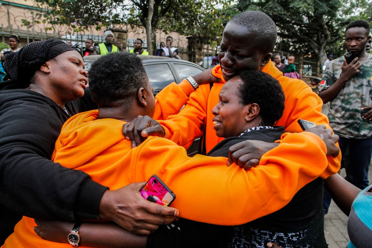 Former Kibra MP Ken Okoth's supporters outside Lee Funeral home on Friday, July 27, 2019.