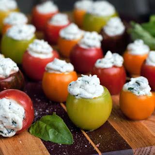 Basil Goat Cheese Tomato Bites