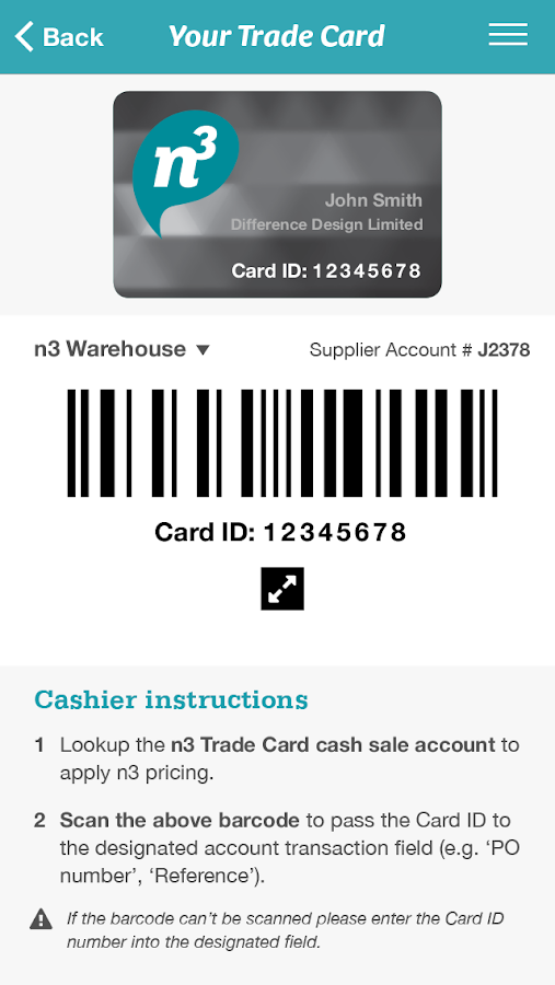 n3 Trade Card- screenshot