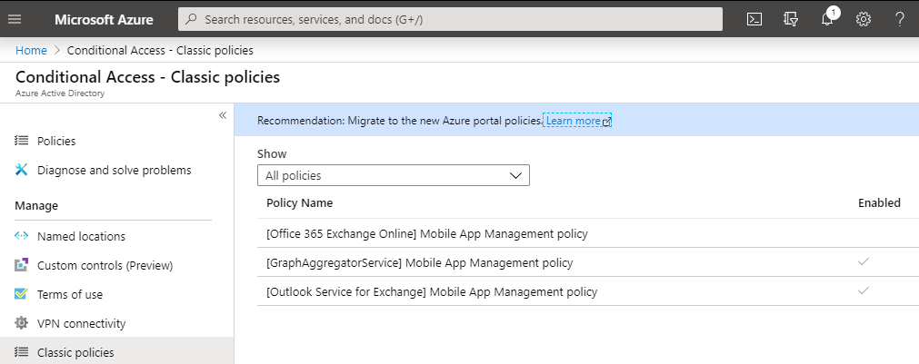 Classic Conditional Access Rules