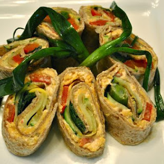 Grilled Vegetable Tortilla Roll With Pimento Cheese