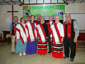 Photo: The full ministry team in dressed in honorary gifted Liangmia ethnic attire.