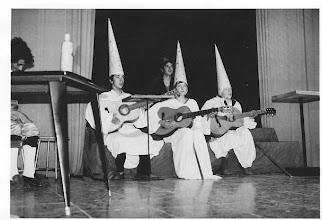"""Photo: Nos la envía Fray Ricardo de Luis Carballada. """"representación de """"El concierto de San Ovidio"""" de Buero Vallejo (en aquellos años representábamos teatro de primera calidad). Es del curso 1976-1977. Los del cucurcho somos de izquierda a derecha: Pablo, Carballada y Celorio."""""""