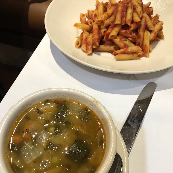 Minestrone and GF pasta with marinara.