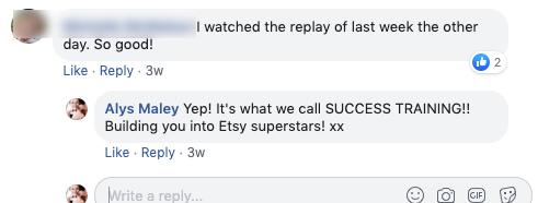 Etsy coaching Alys Maley