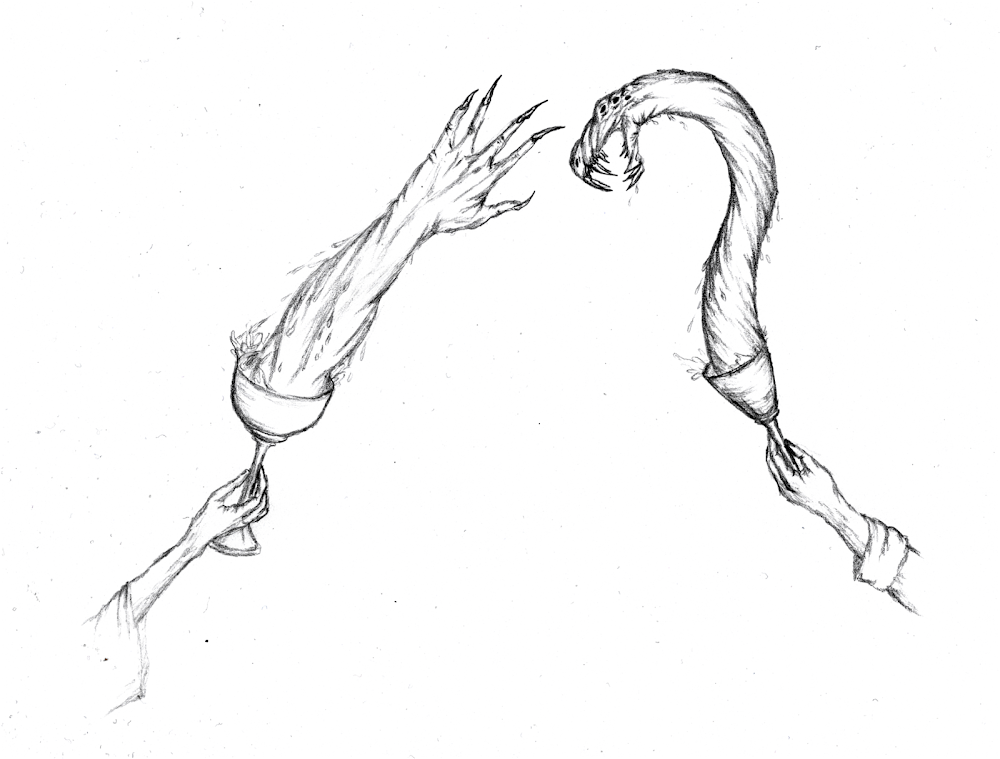 a drawing of a duel of liquid claw and serpent by magic cups