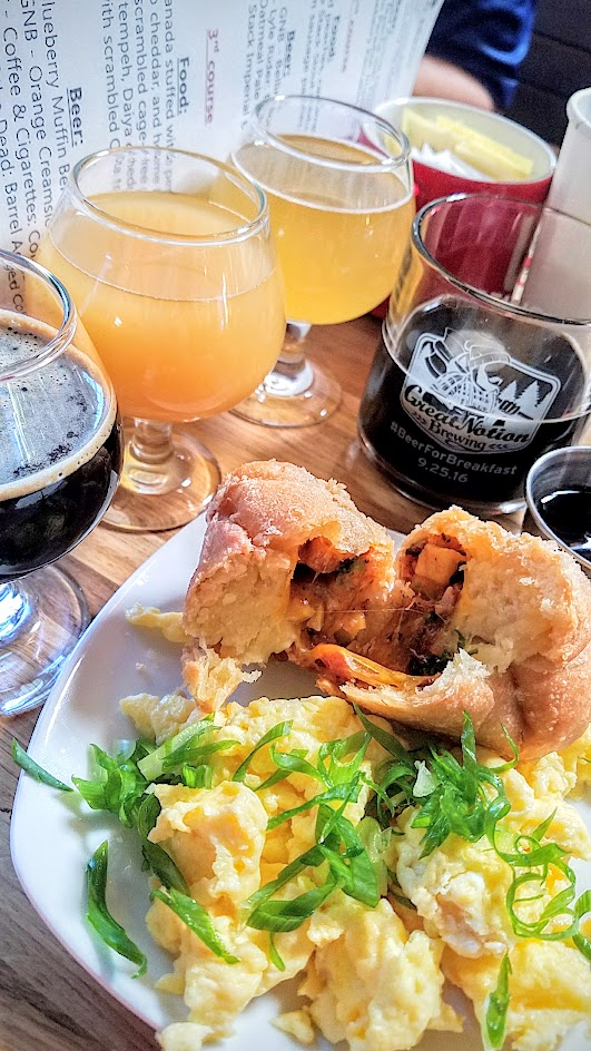 Beer for Breakfast at Great Notion Brewing on September 25, 2016: Course 3 House Empanada stuffed with pepper bacon, sharp cheddar, home fries with scrambled cage free eggs, or alternatively for vegans the empanada was stuffed with marinated tempeh, Daiya cheddar, and home fries with scrambled Ota tofu. Beer Pairings of Great Notion Brewing Blueberry Muffin Berliner Weiss, Great Notion Brewing Orange Creamsicle, Cellarmaker Coffee and Cigarettes Coffee Porter and Modern Times City of the Dead Barrel Aged Coffee Stout