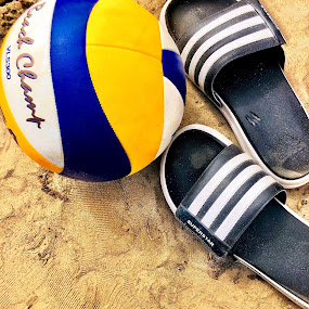 Day of beach by Anny Patterson - Sports & Fitness Other Sports ( #beach #volleyball #sandals #summer #sport #volleyball #stripes #black )