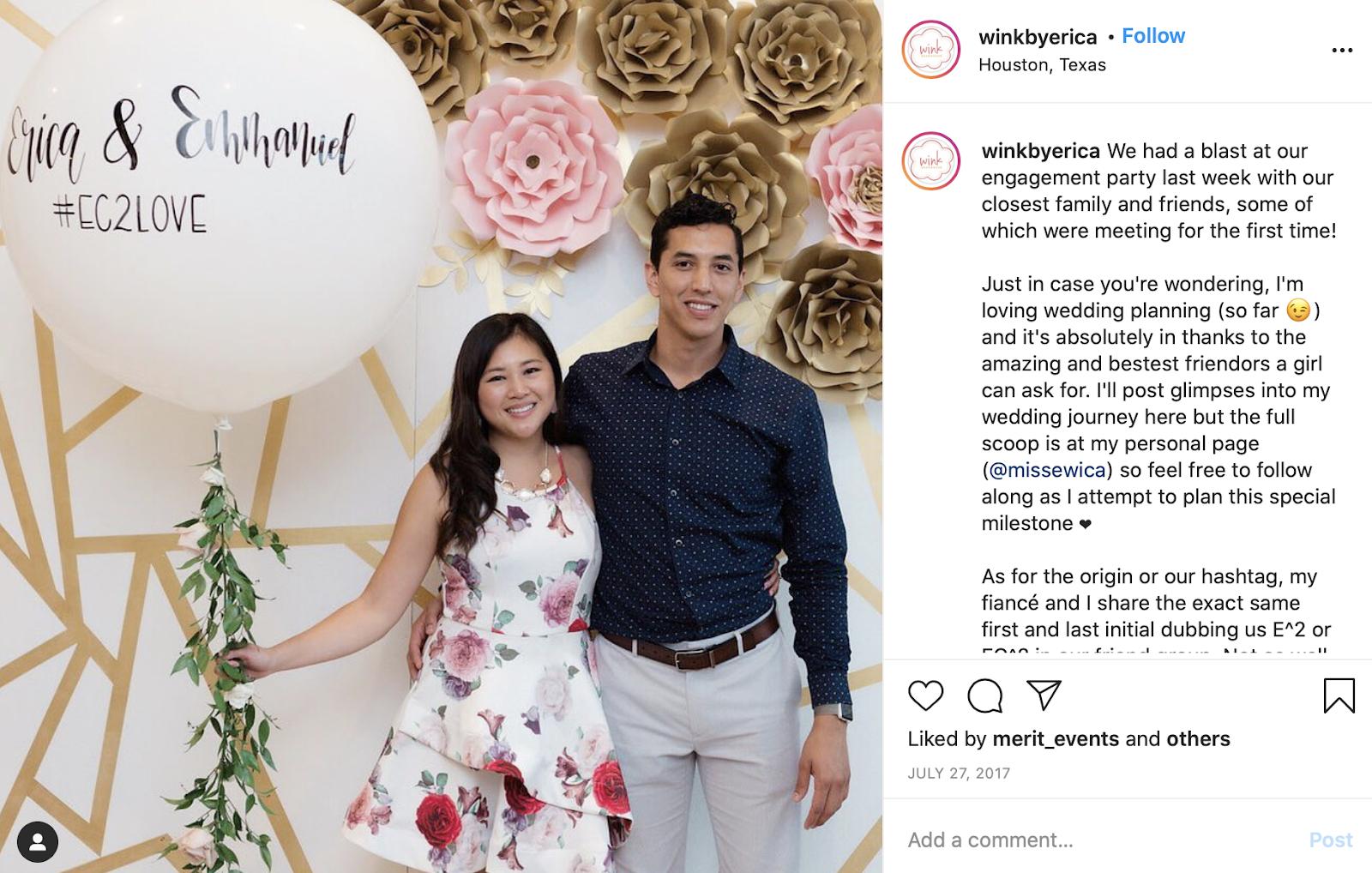 wedding hashtag creator - using your hashtag in engagement photos