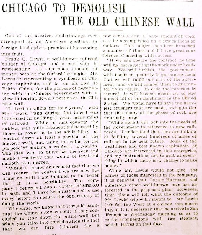 A farsa sobre a derrubada da Grande Muralha da China