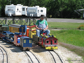 Photo: Bob Sanford built both Rick White's standard gauge box cab on the left and his narrow gauge box cab on the right.  HALS-SLWS 2009-0522