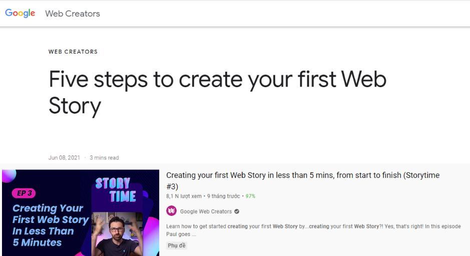 Google đăng tải cách tạo Google web stories trong 5 bước