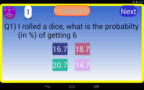 Seventh Grade Kids Math Guru Screenshot