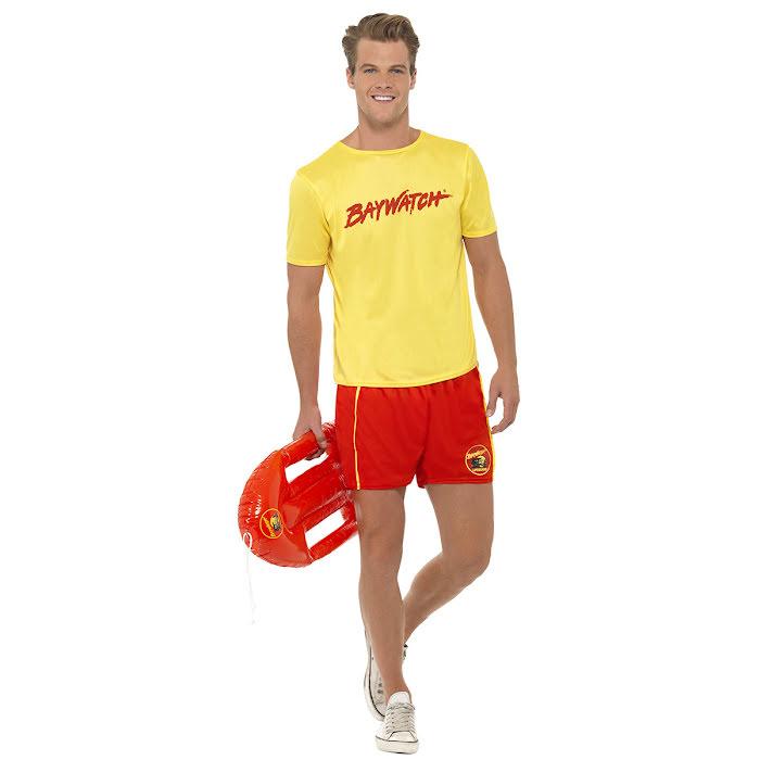 Baywatch livräddare maskeraddräkt gul tshirt och röda badshorts med livboj