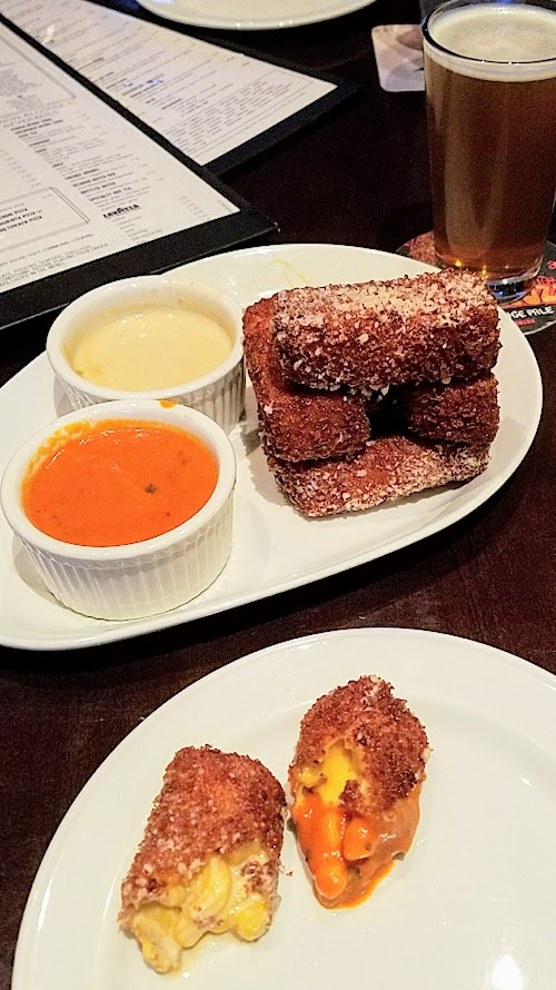 Yard House Portland Yard House Fried Mac and Cheese with organic tomato bisque or porcini cream sauce