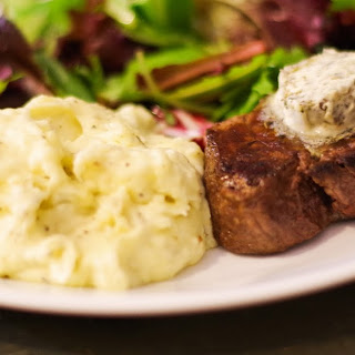 Pan Seared Filet Mignon with Herbed Creamy Mashed Potatoes.