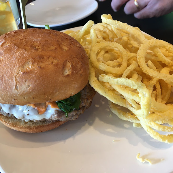 Turkey burger with onion strings