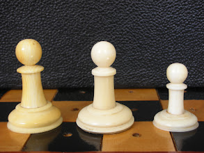 Photo: Comparison of three - non-travel sized  - Cantonese ivory Staunton sets  CH78 - 242 - 302  Pawns