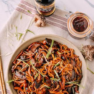 Soy Sauce Braised Wild Mushroom Noodles.