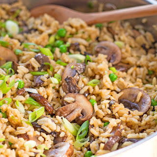 Teriyaki Rice Pilaf With Mushrooms And Peas.