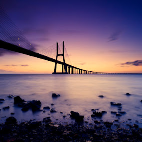The other side! by Hugo Marques - Buildings & Architecture Bridges & Suspended Structures ( water, tagus, sunrise, bridge, river )