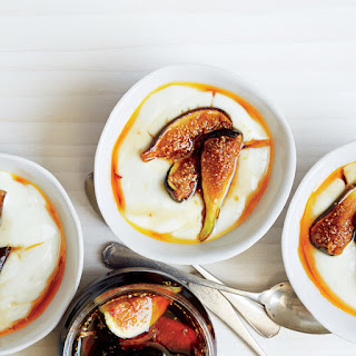 Milk Pudding with Rose Water Caramel and Figs Recipe