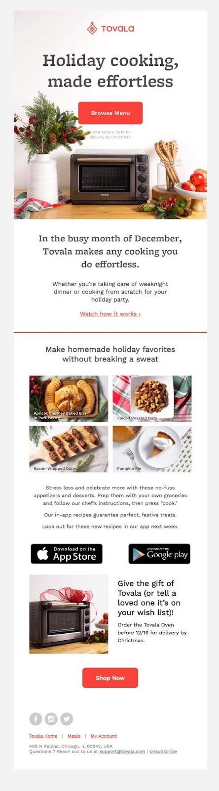 Tovala focuses their holiday email marketing on providing their readers with valuable content, not focusing in on sales