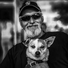 Best friends by Robert Seme - Black & White Portraits & People ( dog portraits, blackandwhite, black white, portraits, men, black and white, portrait, dog, people,  )